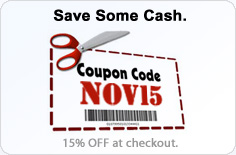 Coupon Code for 15% OFF -- NOV15