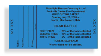 Full color raffle tickets are available online as well. They measure 5 ...