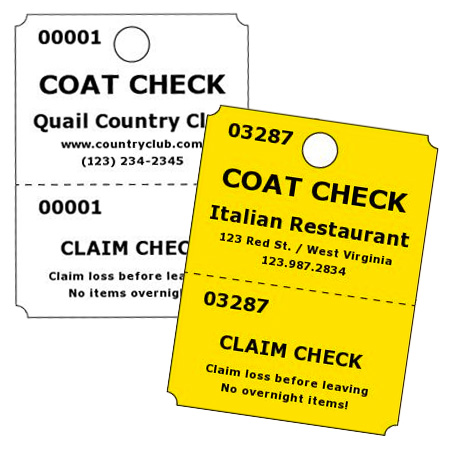 Coat Check Tickets